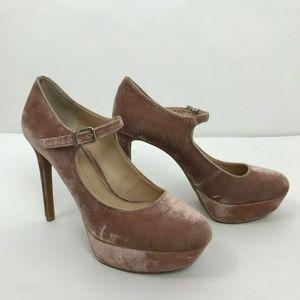 Gianni Bini Pink Velvet Chunky Platform Stilettos